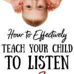 Upside down kid cupping his hears. Title: How to Effectively teach your child to listen to the sermon