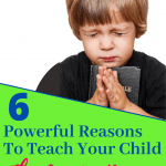 Little boy praying in black shirt. Title: 6 strong reasons to teach your child the Lord's Prayer.
