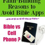 Bible vs Cell Phone - Faith-Building Reasons to Avoid Bible Apps with a Bible with a Phone on top of it. sh