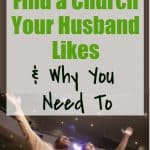 two men with hands lifted in worship - title - 3 strategies to find a church your husband likes & why you must