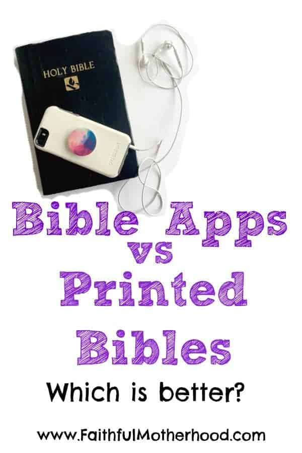 Bible and iphone. Text: Bible Apps vs Printed Bibles: which is better