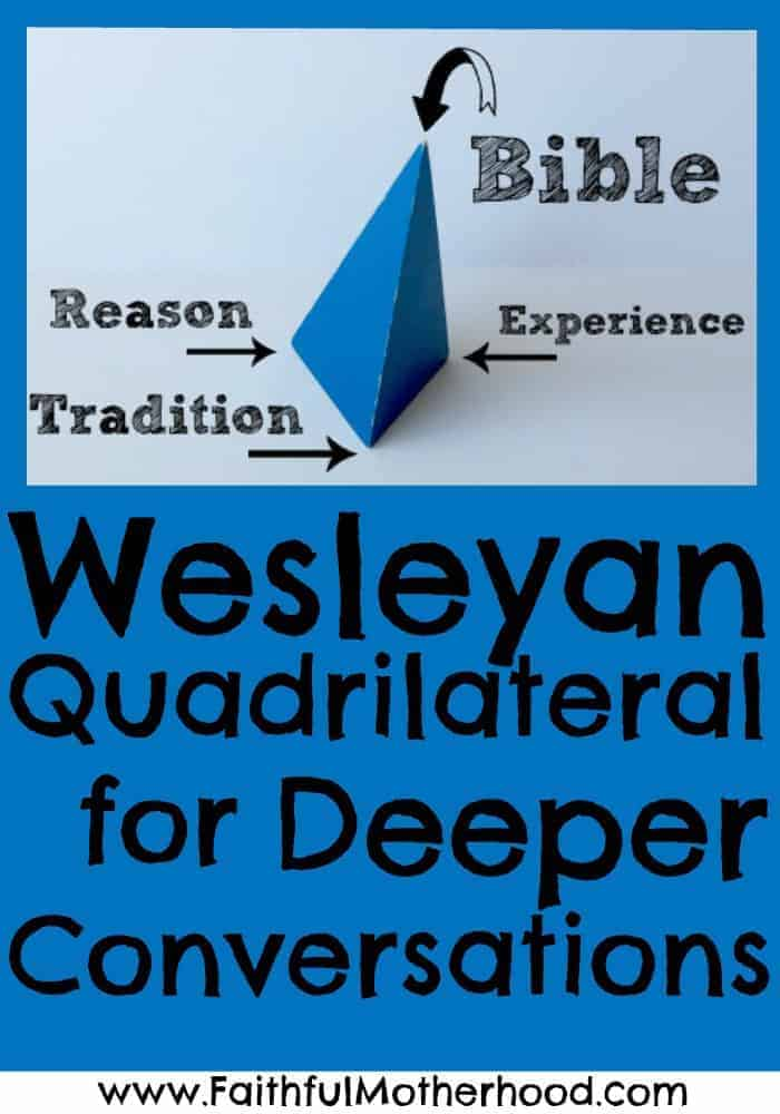 triangular prism with points labeled: Bible, Scripture, Tradition, and Experience. Title: Wesleyan Quadrilateral for Deeper Conversations