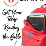 Red backpack with books and a Black Bible - title - 9 easy tips to get your teens reading the Bible