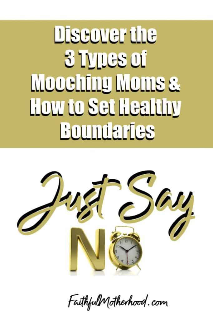 Just say no with no as a clock. Discover the 3 Types of Mooching moms & how to set healthy boundaries - homeschool mom boundaries