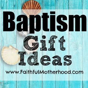 Blue wood with shells. Title: Baptism Gift Ideas