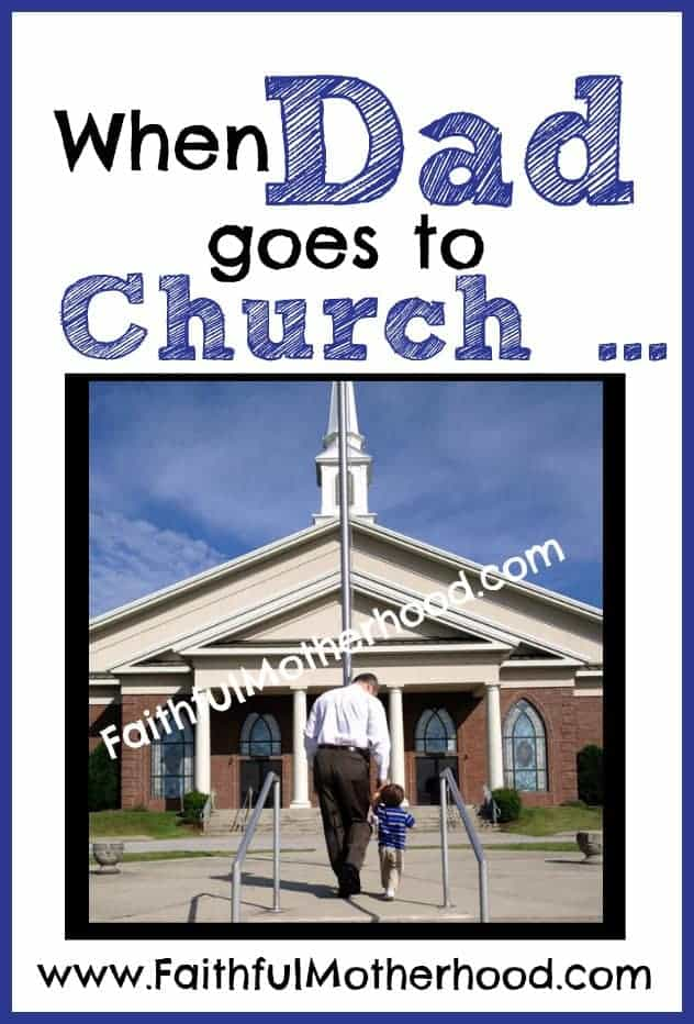 Dad and son walking up steps to church. Title: When Dad goes to church ... Square image