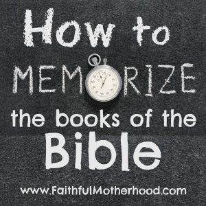 Blackboard, written on it is: How to Memorize the books of the Bible. O in Memorize is a stopwatch