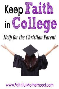 Keep Faith in College. Help for the Christian Parent. A graduate facing away from you with her hands lifted up.