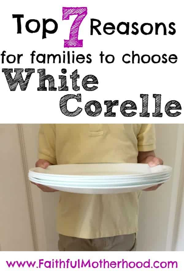 young boy holding white corelle stack of plates