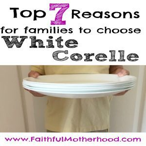 young boy holding five white corelle plates. title - top 7 reasons for families to choose white corelle