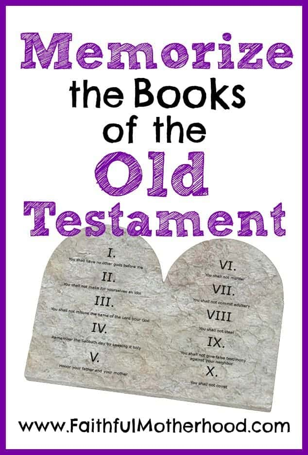Memorize the Books of the Old Testament with a picture of the 10 commandment tablets.