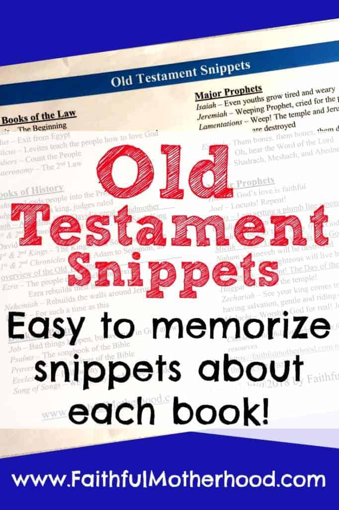 Old Testament Books Snippets
