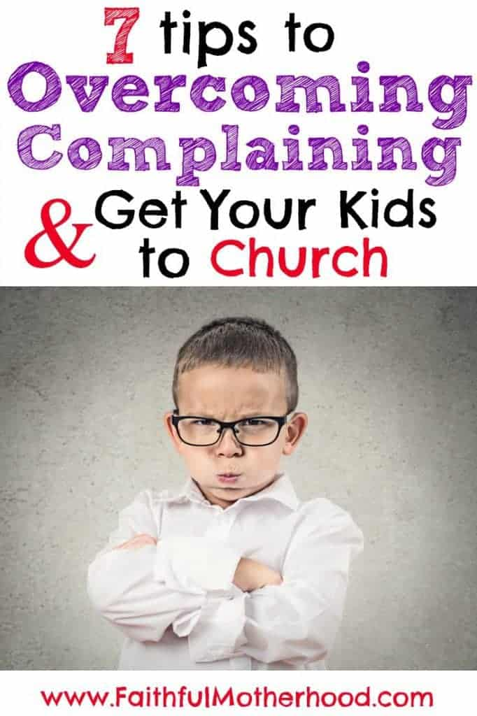 Young boy pouting. Is it hard to get your kids to church? Are you tired of them complaining? Here are 7 tips to overcome complaining and get your kids to church!