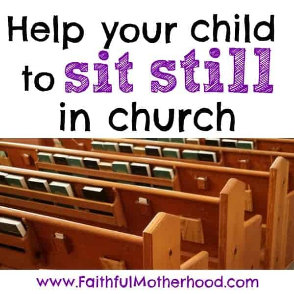 church pews. Title: Help your child sit still in church.
