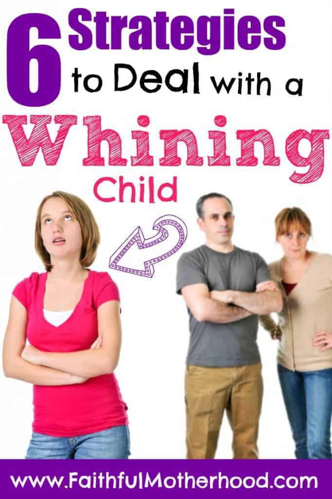 Teen rolling eyes with parents in background. Title: 6 strategies to deal with a whining child.