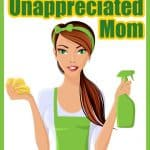 Young unappreciated mom in green with white apron and cleaning supplies.