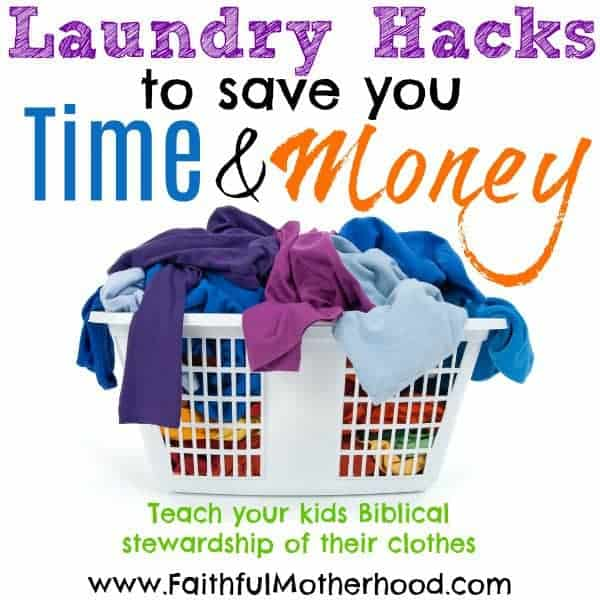 Drowning in laundry? Teach your kids biblical stewardship of their clothes with these laundry hacks to save you time and money. Eight laundry tips for moms that make laundry a team effort! #faithfulmotherhood #laundryhacks #laundrytipsandtricks #laundrytips #laundryhacksformoms #laundrytipsformoms #laundryhacksyouneedtoknow #lesslaundry #toomuchlaundry #biblicalstewardship #clothingstewardship #christianparenting #christiandiscipleship