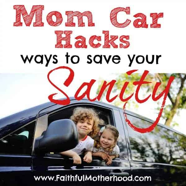 Messy car with kids? Hauling kids around and your car is a mess? Your mom taxi needs organized and cleaned? As homeschoolers we spend a lot of time in our car. Here are my tips for overcoming mom stress and keeping the car clean. Top car mom clean car hacks for saving your sanity. #cleancarhacks #momcarhacks #faithfulmotherhood #carschooling #momtaxi #cleancarwithkids #organizedmom #sanitysavingmomtips