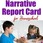 boy and girl studying title - narrative report card for homeschooling