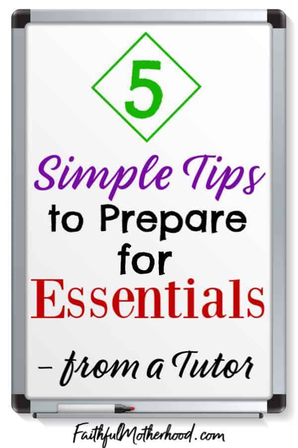 White board on which is written 5 simple tips to prepare for Essentials