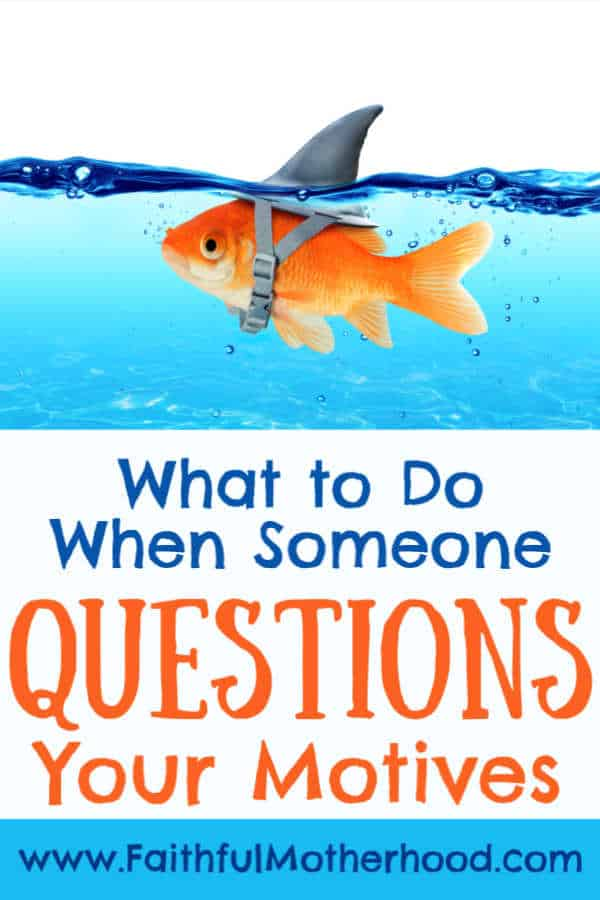 Goldfish with shark hat. Title: What to do when someone questions your motives