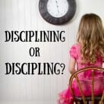 Little girl in pink dress sitting in chair and facing the wall. Title: Disciplining or Discipling?