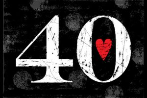 40 with a red heart