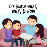 Family doing Bible Study together. Title: What are Family Devotions? The Simple What, Why, & How