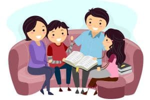 Drawn family having family devotions and Bible study