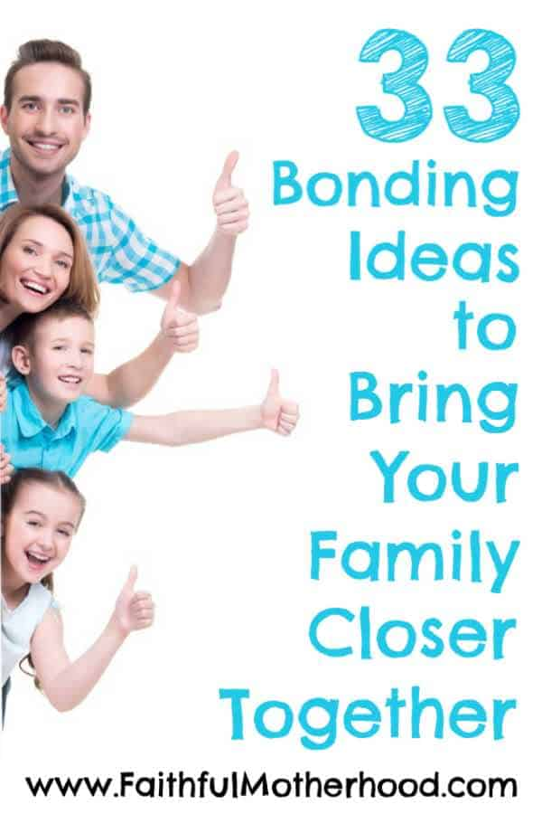 Family of 4 peaking from behind wall. Title: 33 Bonding ideas to bring your family closer together