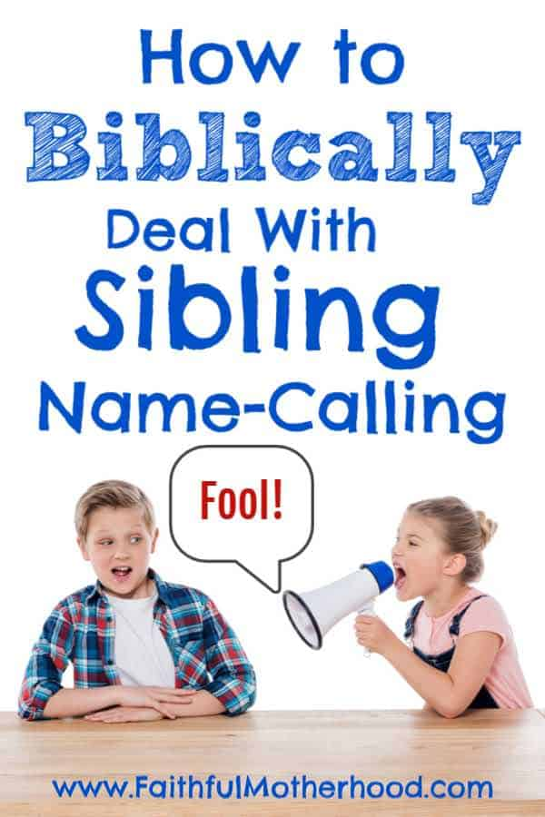 Sister calling brother a fool.  Title: How to Biblically deal with sibling name-calling