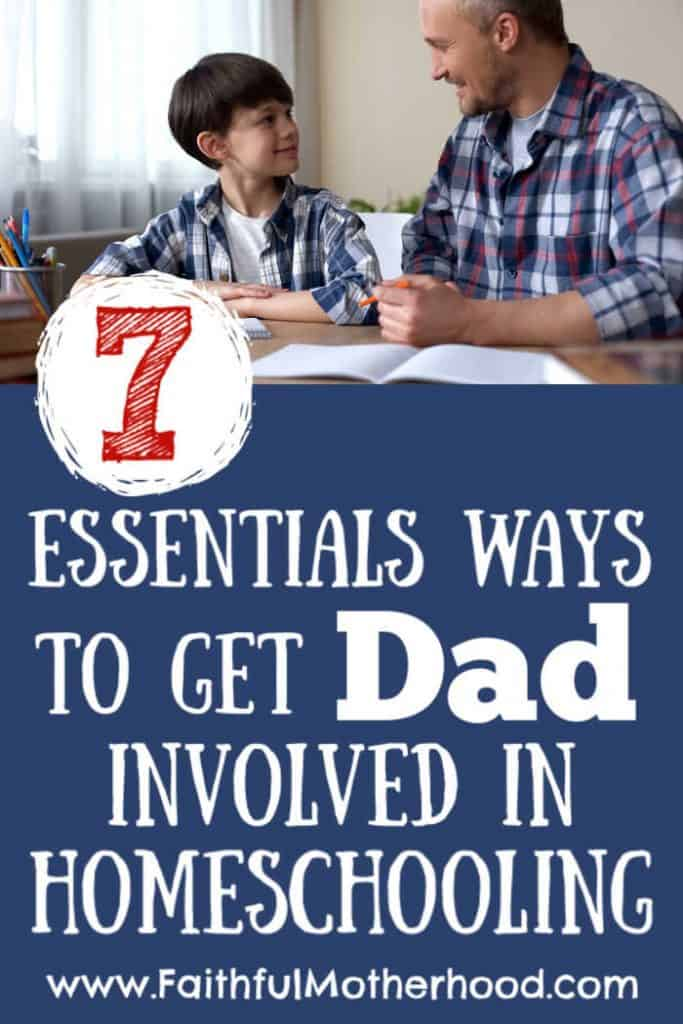 Dad involved in homeschooling. Dad and son doing school work together and laughing.