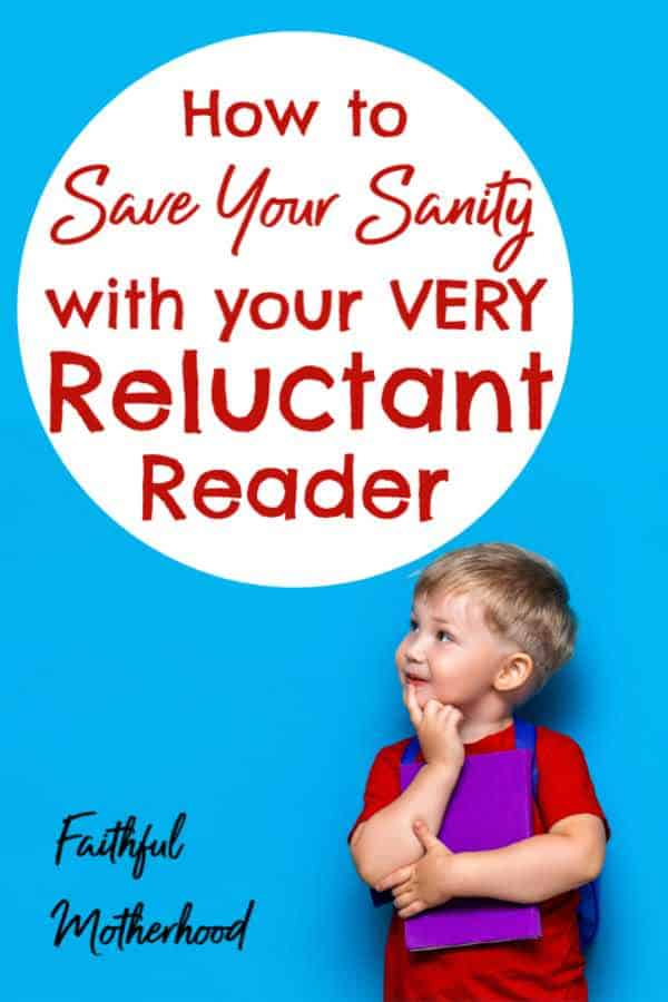 Little boy clutching a book and looking up at the title: how to save your sanity with your very reluctant reader.