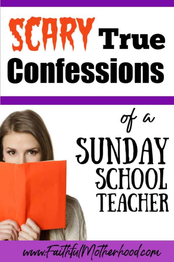 Women with looking from behind an orange book. Title: Scary True Confessions of a Sunday School teacher - value of Sunday School