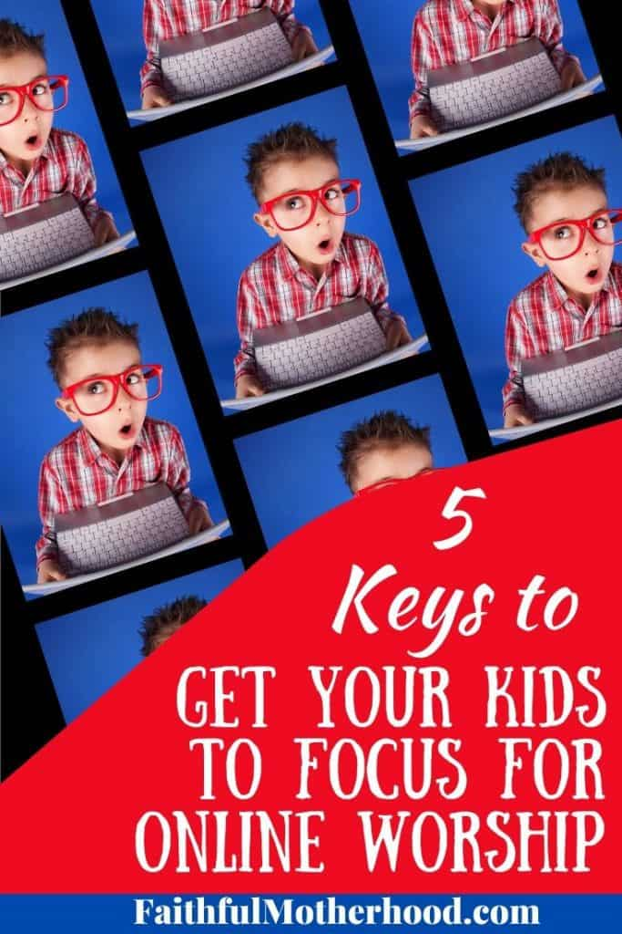 Funny Little boy with computer - title - get kids to focus for online worship