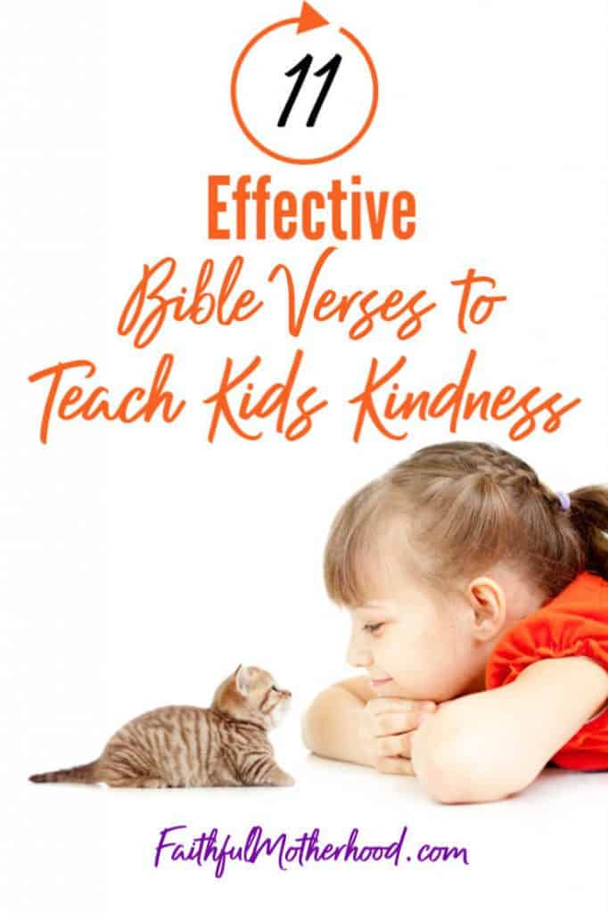 kitten and little girl in orange - bible verses to teach kids kindness