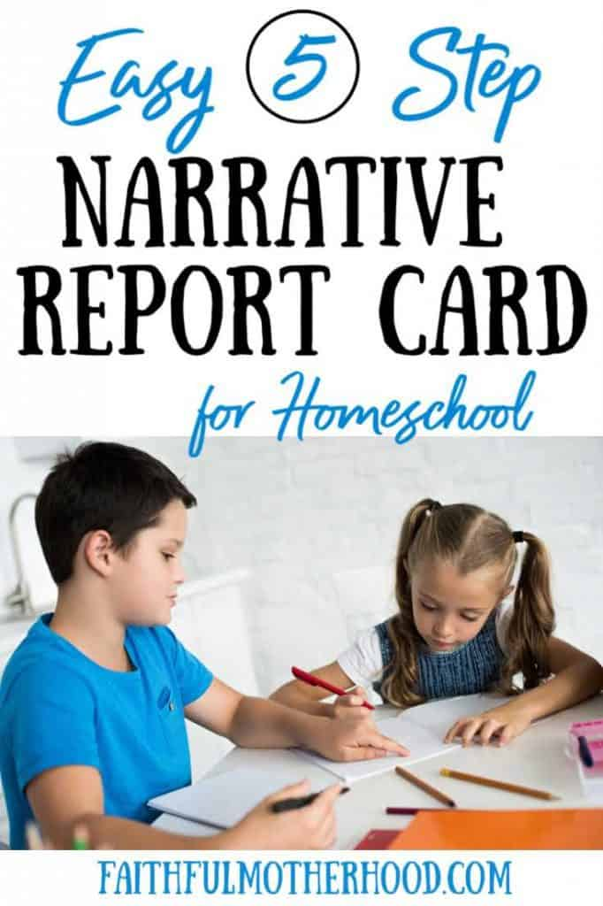 little girl and little boy doing homeschool at table - title 5 easy steps narrative report card for homeschool