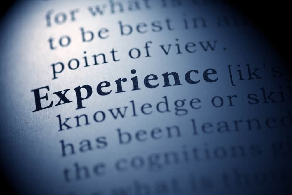A dictionary page focused on the word experience - Wesleyan Quadrilateral Experience example