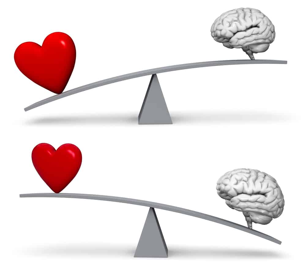 Wesleyan Quadrilateral tension between experience and reason exemplified by a teeter tauter with a heart on one side and a brain on the other.  There are two examples one with the heart the highest and the other with the brain the highest.