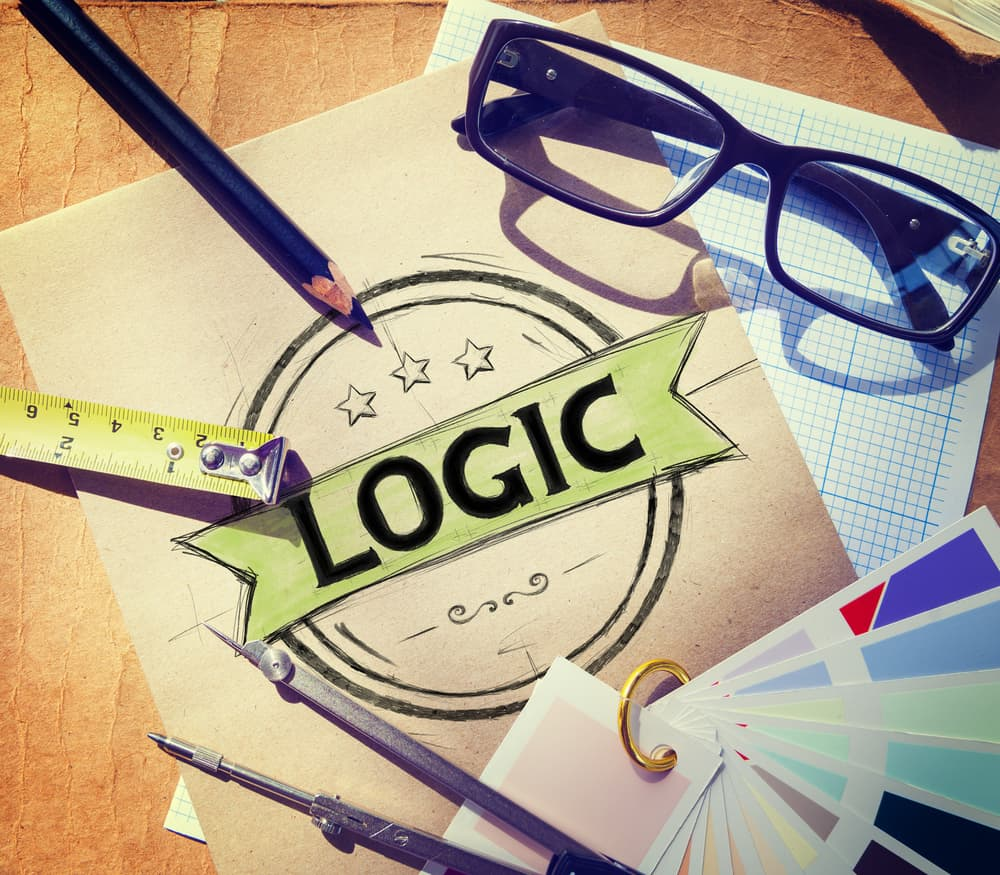 Logic and Reason are represented in the Wesleyan Quadrilateral.  This is a picture of a desk with eyeglasses, a measuring tape, and a piece of paper with Logic on it.