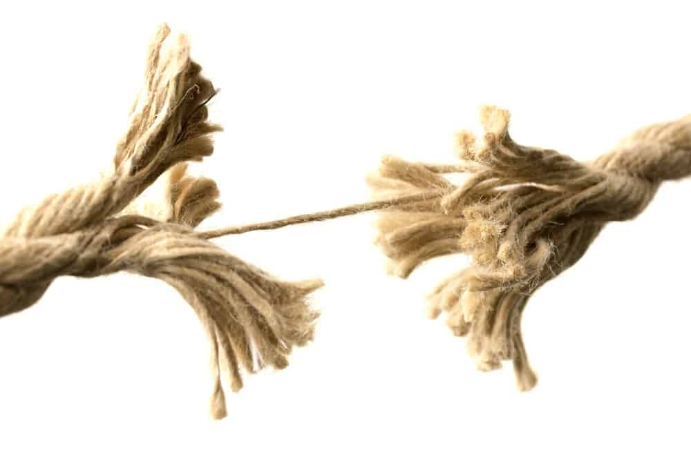 rope really frayed and about to snap - a symbol for homeschooling burnout