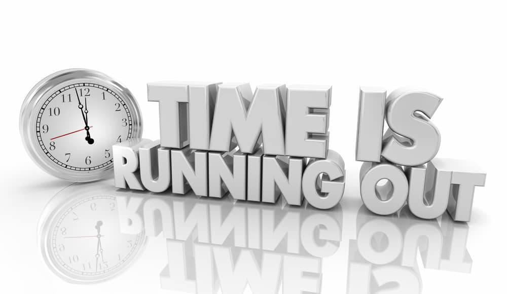 Teach kids Good stewardship of time - A silver clock and silver block letters that say time is running out.
