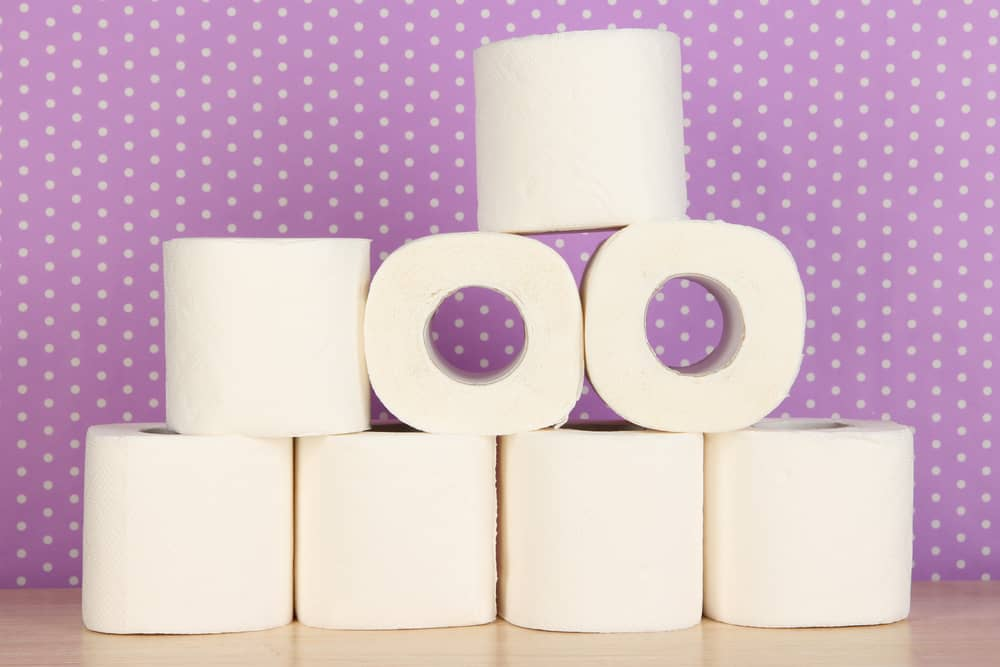 eight rolls of toilet paper stacked. Purple polka dot background.  Teach kids Good stewardship of a stash of toilet paper.