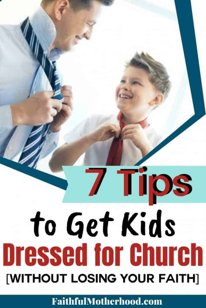 Young boy and Dad working on getting dressed for church, they are tying their ties. Dad's goal to get kids dressed for church.