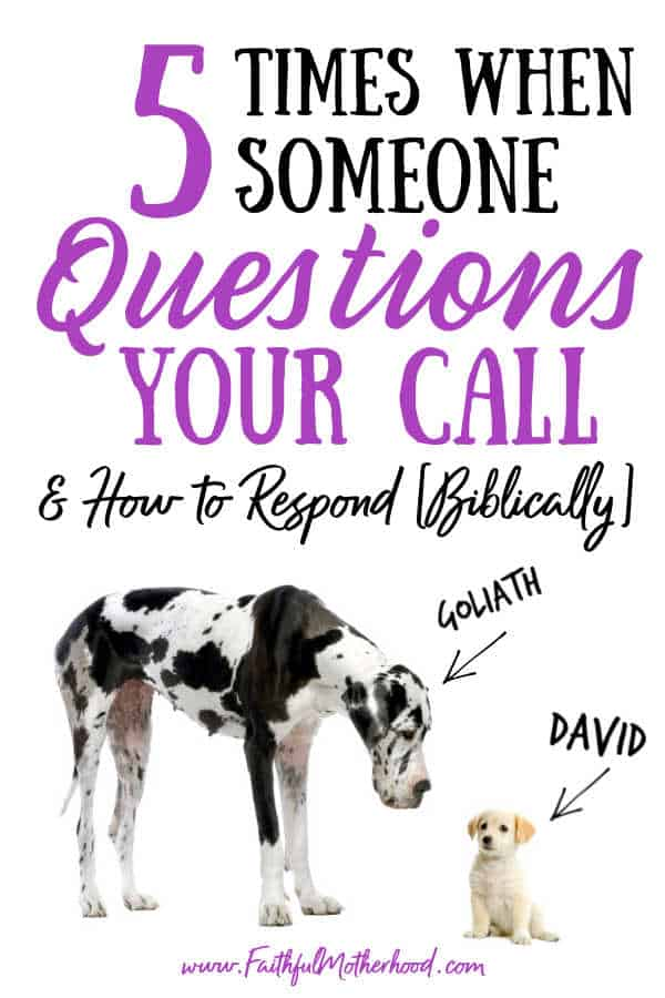 Big Dalmation towers over a tiny dog.  They are labeled David & Goliath.  Title - 5 Times When Someone Questions Your Call & How to Respond [Biblically]
