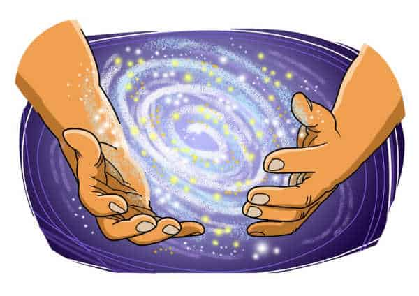 A colorful drawing of hands holding a new galaxy like when God parted the waters to create the heavens.