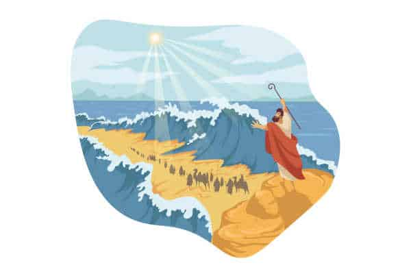 A colorful drawing of when God parted the waters for Moses at the Red Sea.  Moses has his arms lifted up and the waters are rolled back.