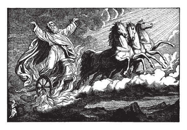 Elijah riding in a chariot of three horses, being taken up to heaven. The chariot's wheels are flaming. Elisha can be seen kneeling and watching from the ground, vintage line drawing or engraving illustration. God parted the waters and then sent angels for Elisha.
