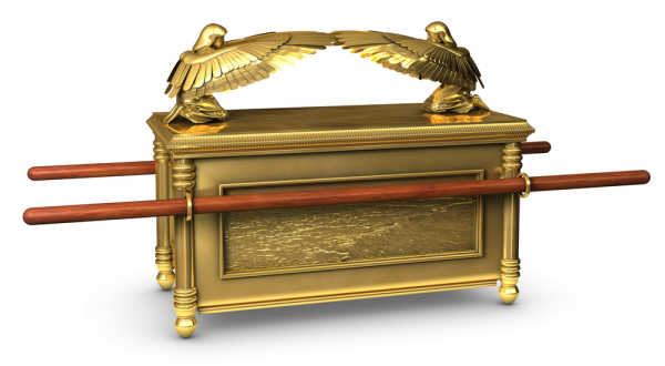 Legendary Ark of the Covenant from the Bible which went first into the waters when God parted the waters for the Jewish people to cross into the Promised Land