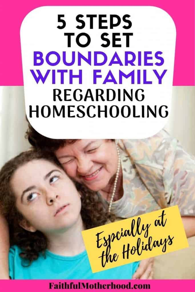 Annoying older relative hugging a disinterested teen. Title - 5 steps to set boundaries with family regarding homeschooling - especially at the holidays